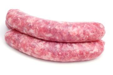uncooked pork meat sausages