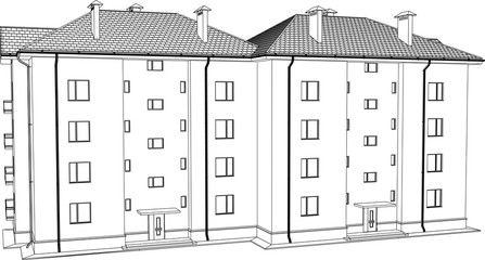 3D render of the building. The house has an apartment on a white background. Vector.