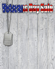 Veterans Day sale sign with military dog tags