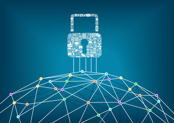 Global IT security protection concept of connected devices. World wide web background with lines connecting dots.