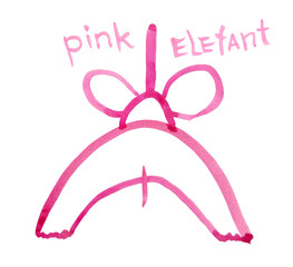 Pink elephant, rear view, drawn schematically, watercolour with inscription in English