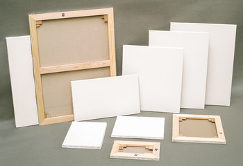 Empty white painter canvas with clipping path