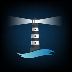 Logo old lighthouse. Vector image.