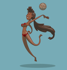 Vector Volleyball player, girl with dark hair. Cartoon image of volleyball player girl with long dark hair in a red swimsuit, with a ball on a light blue background.