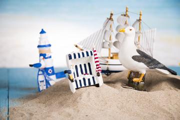 Holiday by the sea, gull, lantern, ship
