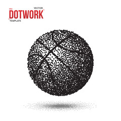 Dotwork Basketball Sport Ball Vector Icon made in Halftone Style