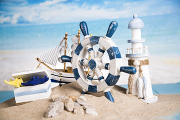Lighthouse, beach, ship