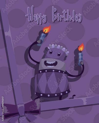 Vector Card Happy Birthday cake purple Card with cartoon image of