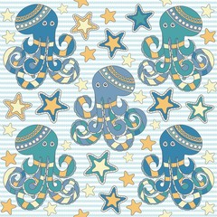 seamless vector pattern with octopus