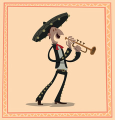 Vector Mariachi with a cornet. Cartoon image of mariachi in traditional Mexican black-and-white suit, red tie and black sombrero with a cornet in his hands on a light pink background.