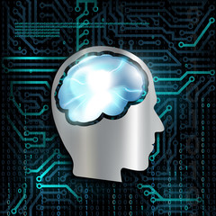 Technology background with microchip and brain.