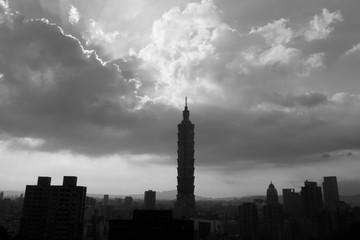 Black and white of Taipei city view
