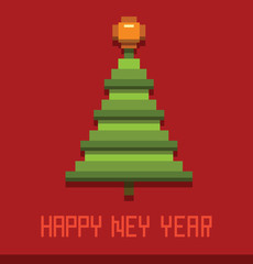 Vector Pixel New Year Card, Christmas tree. Card with the image of a green Christmas tree in the style of pixel graphics on a red background.