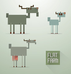 Vector Flat Farm Goats. Cartoon image of a family of goats of different colors in the style of flat design on a light background.