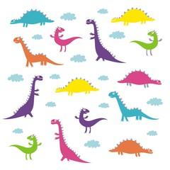 Funny dinosaur vector pattern design