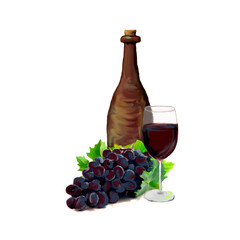 Grapes and red wine composition. Isolated on a white background.