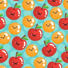Seamless pattern with smiling apples and oranges