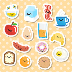 Set of stickers with smiling breakfast food