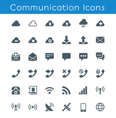 Communication Icons. 36 glyph icons. Build on 16px grid pixel perfect.