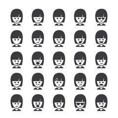 Set of different smileys vector, woman faces. Emoji icons representing lots of reactions, personalities and emotions