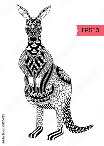 Drawing Zentangle Kangaroo For Coloring Page Shirt Design Effect Logo Tattoo And Decoration