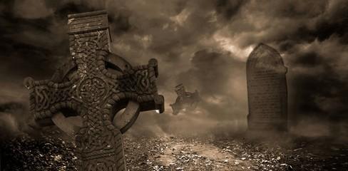 Photo sur Plexiglas Cimetiere Mist rolling over the graveyard
