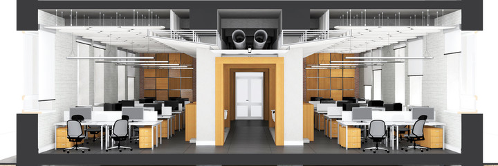 Cross section of the office space