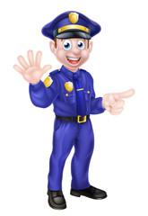 Cartoon Policeman Pointing
