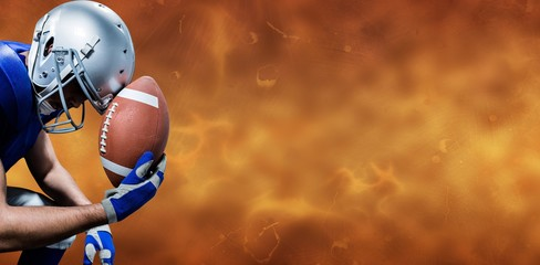 Composite image of american football player with ball