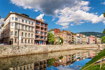 Buildings in Sarajevo over the river Miljacka - Bosnia and Herze