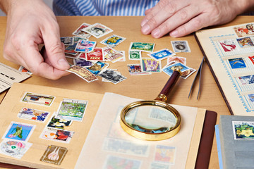 Man watching a collection of postage stamps
