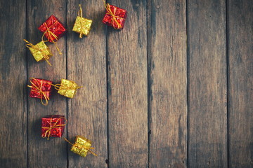 Christmas vintage decoration on the wooden background