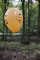 Orange halloween ballon floating in the forest