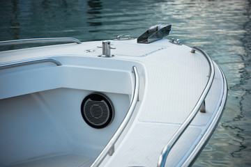 Detail of a small motor boat