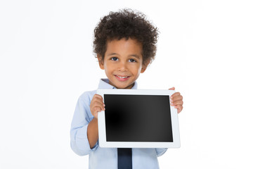 little african business man holding tablet