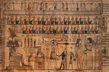 antique hieroglyphs on Egyptian papyrus