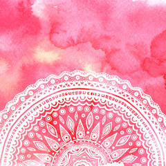 Pink watercolor paint background with white hand drawn round doodles and mandalas