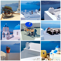 Travel photo collage with detail of greek architecture, Santorini