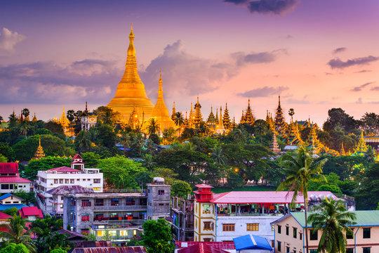 Yangon, Myanmar skyline at Shwedagon Pagoda