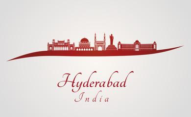 Hyderabad skyline in red Fototapete