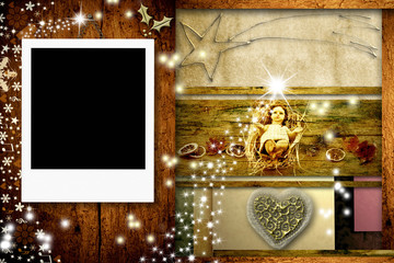Christmas postcard with one frame for photo