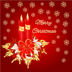 Merry Christmas two candles with ribbon and poinsettia vector