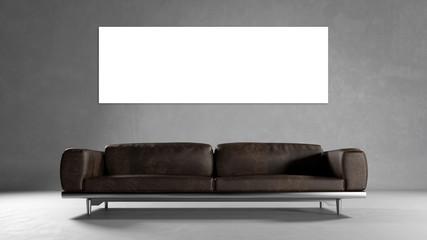 Leere Panorama Leinwand an Wand