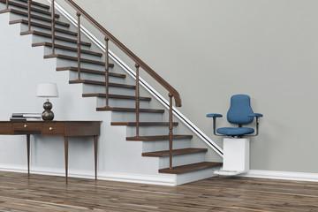 Treppenaufzug oder Treppenlift an Treppe Fototapete