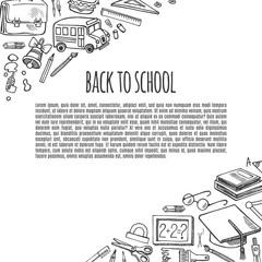 Banner back to school tools sketch icons design illustration.