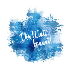 Der Winter kommt! | Abstract Blue Watercolour Painting