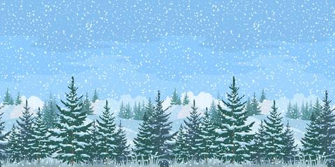 Seamless Winter Forest Landscape