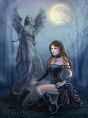 Fantasy beautiful woman  with  black cat about a statue. wood. at night. gothic style