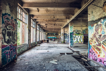 Self adhesive Wall Murals Old abandoned buildings Old abandoned factory hall