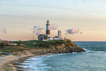 Foto op Canvas Vuurtoren Montauk Point Light, Lighthouse, Long Island, New York, Suffolk